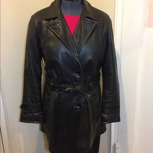 Vintage black leather trench coat